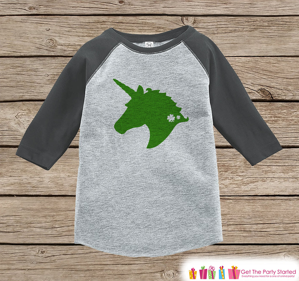 Kids Unicorn Shirt - Green Unicorn Silhouette - Irish Unicorn - St. Patricks Day Onepiece or Tshirt - Toddler, Youth Grey Raglan