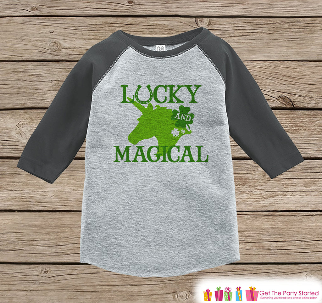 Kids Unicorn Shirt - Lucky and Magical - St. Patricks Day Unicorn - Boys or Girls Onepiece or Tshirt - Kids, Toddler, Youth Grey Raglan