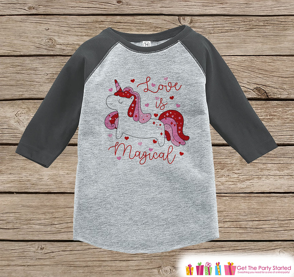 Girls Unicorn Shirt - Love is Magical Unicorn - Kids Valentines Day Unicorn - Girls Onepiece or Tshirt - Kids, Toddler, Youth Grey Raglan