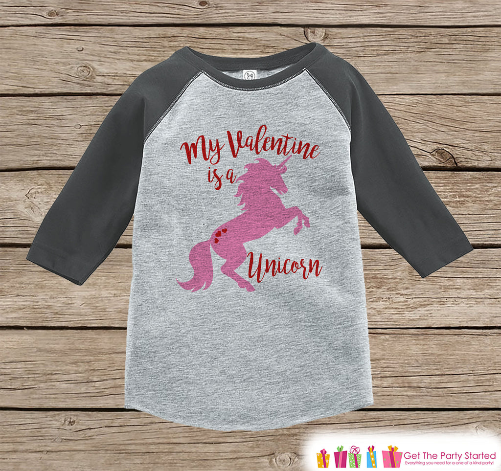Girls Unicorn Shirt - My Valentine is a Unicorn - Valentine's Day Unicorn Top - Girls Onepiece or Tshirt - Kids, Toddler, Youth Grey Raglan