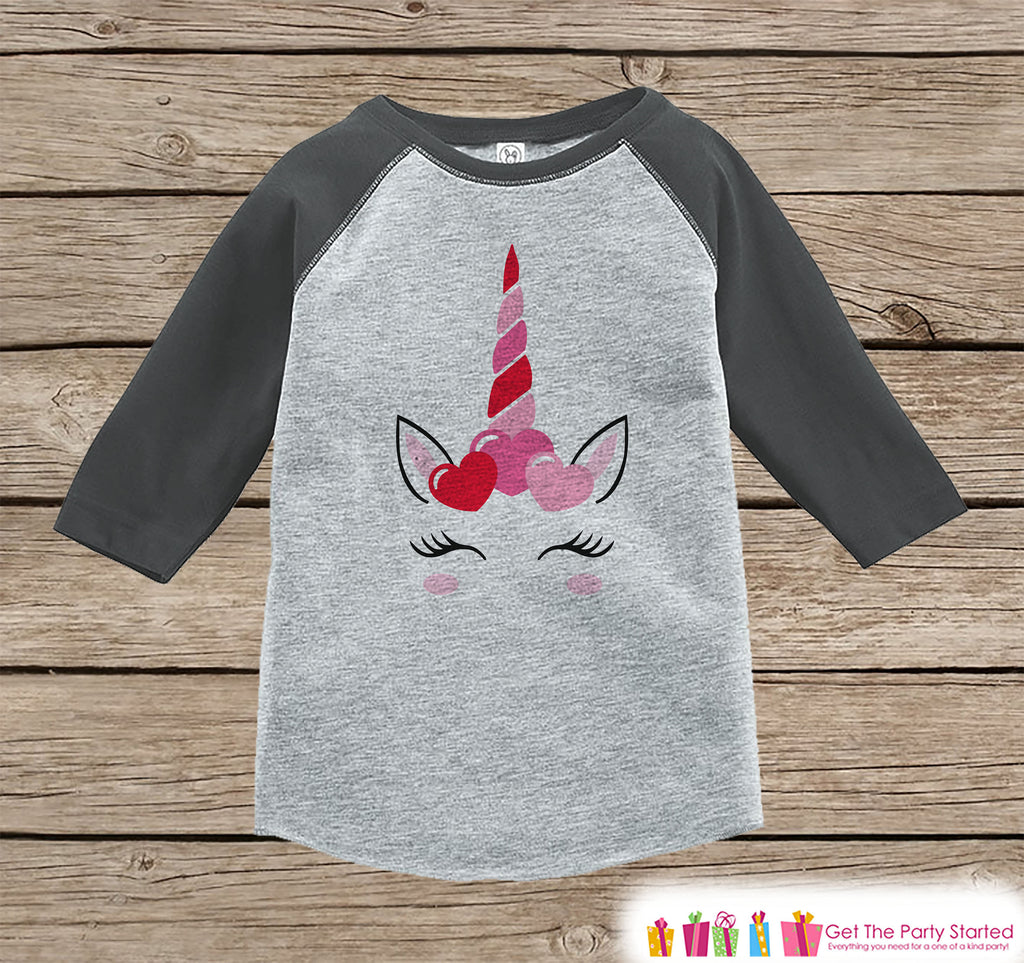 Girls Unicorn Shirt - Pink Heart Crown - Unicorn Valentine's Day Top - Girls Onepiece or Tshirt - Kids, Toddler, Youth Grey Raglan