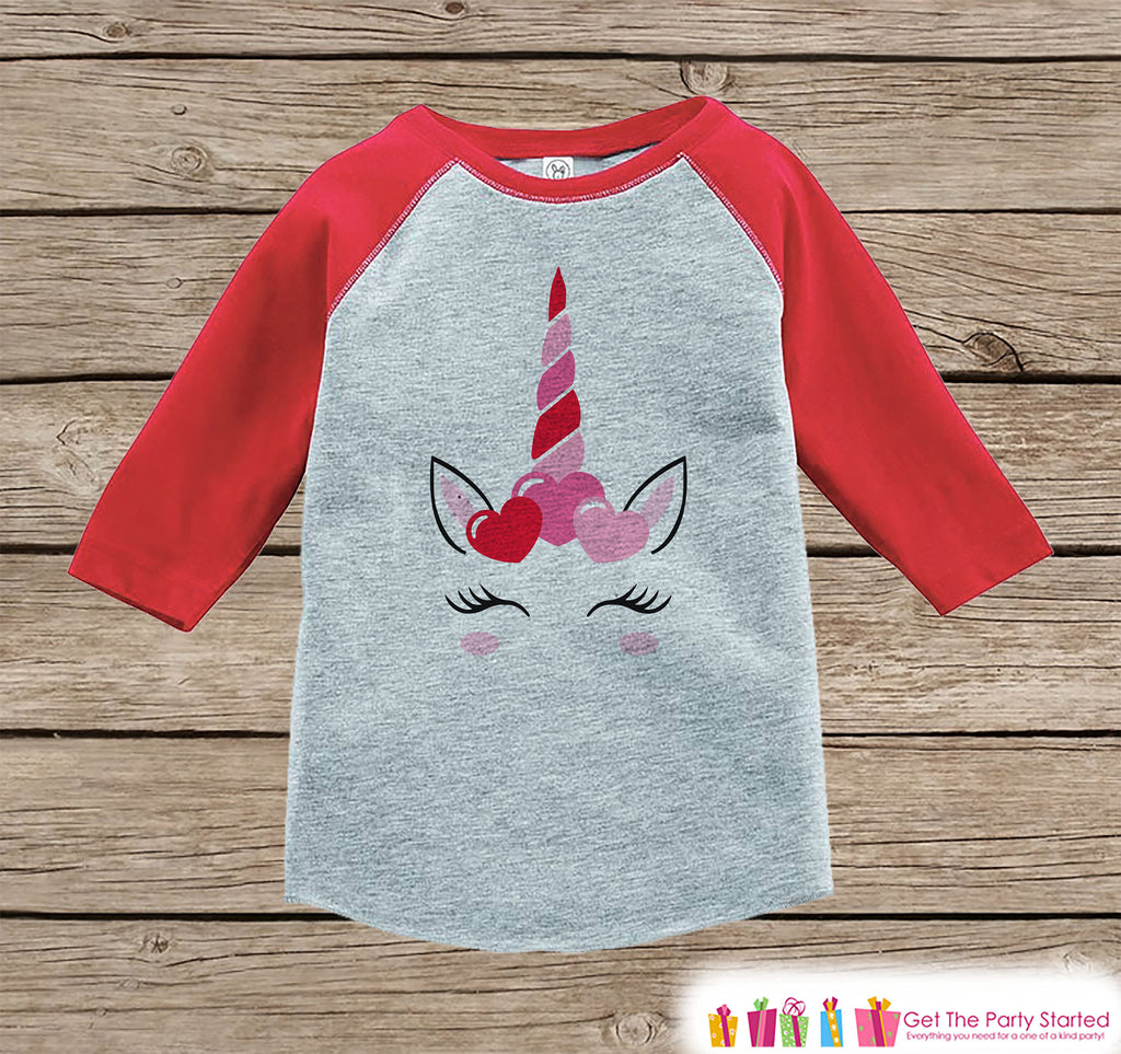 Girls Unicorn Shirt - Pink Heart Crown - Unicorn Valentine's Day Top - Girls Onepiece or Tshirt - Baby, Kids, Toddler, Youth Red Raglan