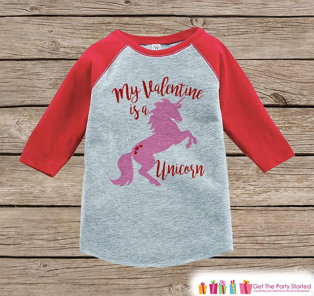 Girls Unicorn Shirt - My Valentine is a Unicorn - Valentine's Day Unicorn Top - Girls Onepiece or Tshirt - Kids, Toddler, Youth Red Raglan