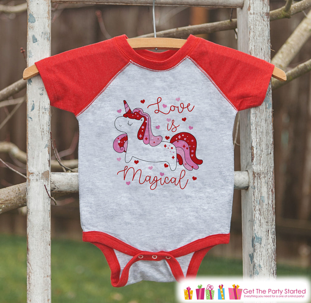 Girls Unicorn Shirt - Love is Magical Unicorn - Kids Valentines Day Unicorn - Girls Onepiece or Tshirt - Kids, Toddler, Youth Red Raglan