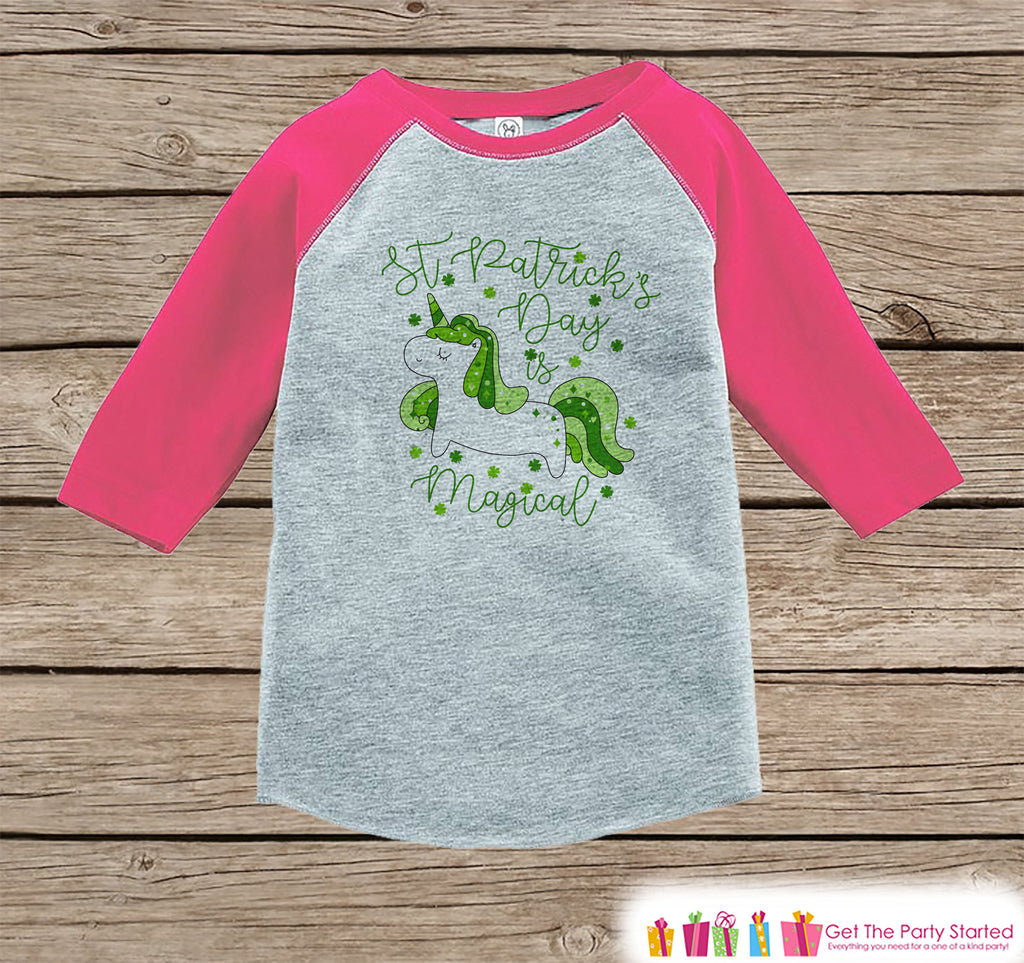 Kids Unicorn Shirt - Irish Unicorn - St. Patricks Day is Magical - Girls Onepiece or Tshirt - Baby, Kids, Toddler, Youth Pink Raglan