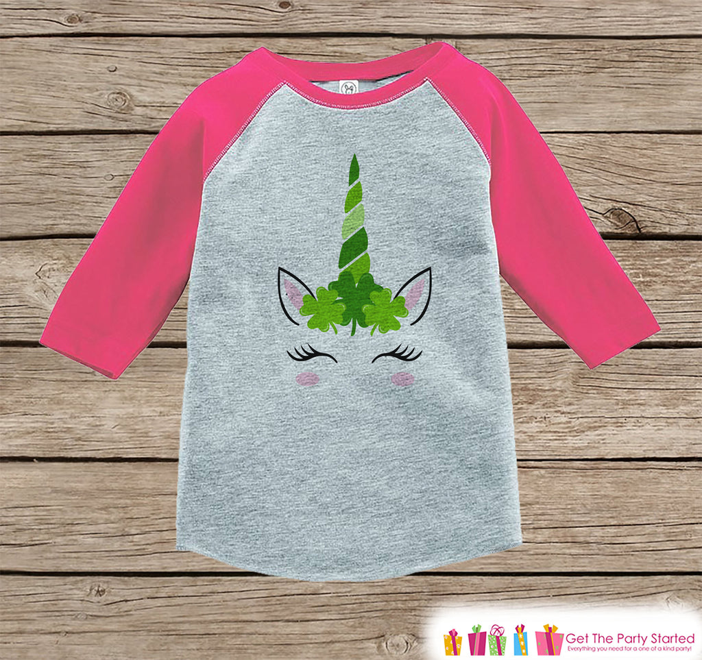 Kids Unicorn Shirt - Irish Unicorn - Clover Crown Unicorn Face St. Patricks Day - Girl Onepiece or Tshirt - Kids, Toddler, Youth Pink Raglan