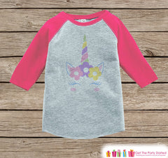 Girls Unicorn Shirt - Flower Crown - Pastel Spring Girls Onepiece or Tshirt - Easter Unicorn Shirt - Baby, Kids, Toddler, Youth Pink Raglan