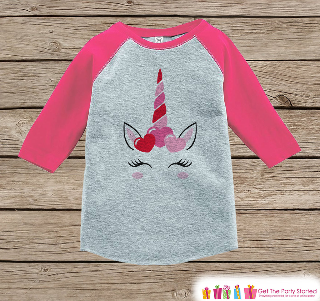 Girls Unicorn Shirt - Pink Heart Crown - Unicorn Valentine's Day Top - Girls Onepiece or Tshirt - Baby, Kids, Toddler, Youth Pink Raglan