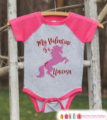 Girls Unicorn Shirt - My Valentine is a Unicorn - Valentine's Day Unicorn Top - Girls Onepiece or Tshirt - Kids, Toddler, Youth Pink Raglan