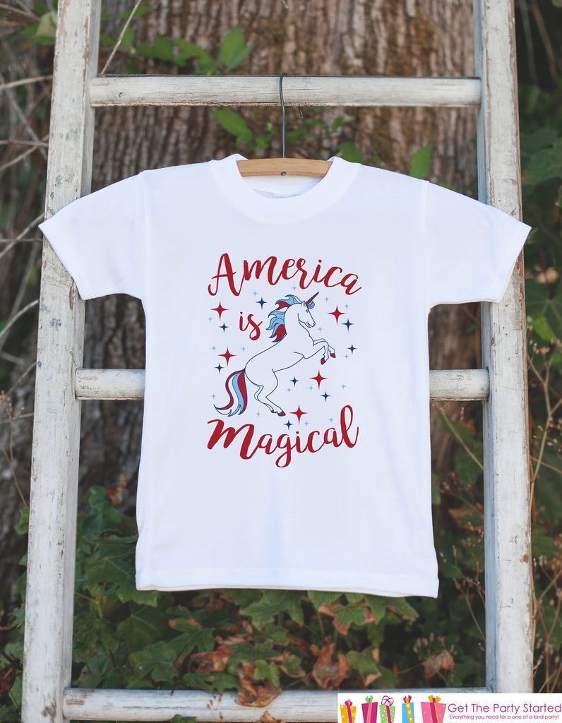 Kids Unicorn Shirts - America is Magical - 4th of July Unicorn Onepiece or T-shirt - Boy or Girl Patriotic Unicorn - Infant, Toddler, Youth