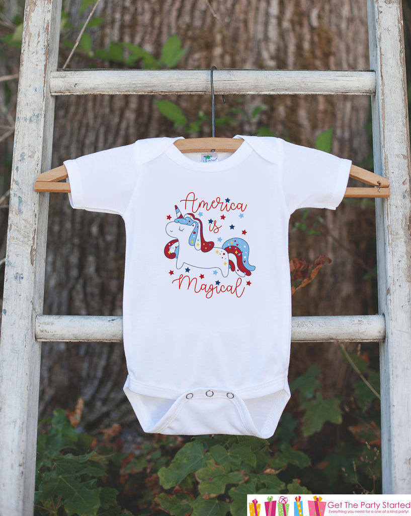 Unicorn Shirts - America is Magical - Kids 4th of July Unicorn Onepiece or T-shirt - Boy or Girl Patriotic Unicorn - Infant, Toddler, Youth