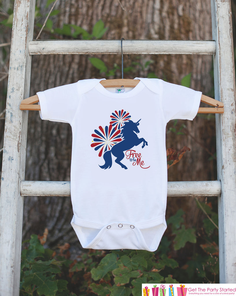 Kids Unicorn Shirts - Free To Be Me - 4th of July Fireworks Unicorn Onepiece or T-shirt - Patriotic Unicorn - Infant, Toddler, Youth