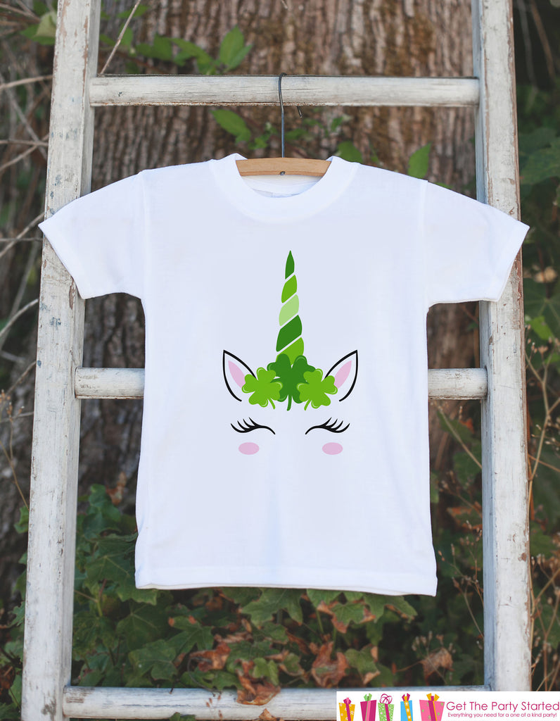 Kids Unicorn Shirts - Lucky Clover Crown - St Patricks Day Unicorn Onepiece or T-shirt - Girl's Irish Unicorn - Baby, Infant, Toddler, Youth