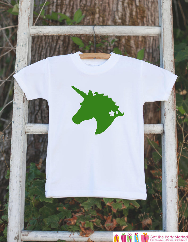 Kids Unicorn Shirts - Green Unicorn Face - St Patricks Day Unicorn Onepiece or T-shirt - Girl's Irish Unicorn - Baby, Infant, Toddler, Youth