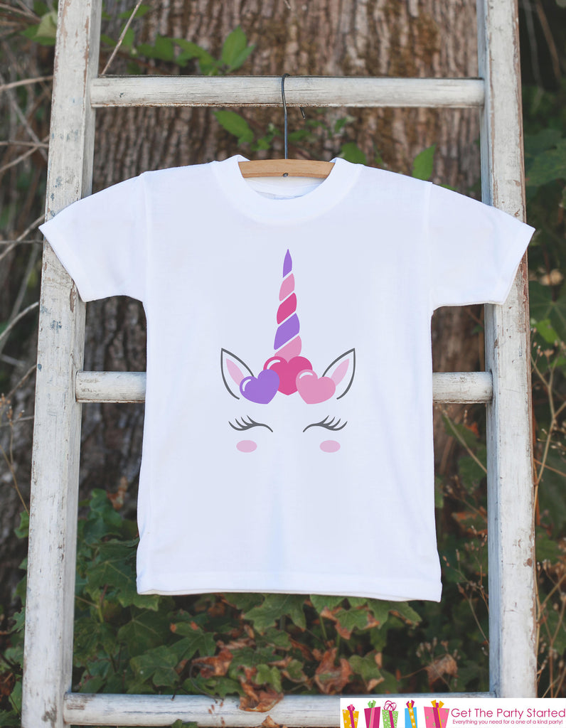 Kids Unicorn Shirts - Purple Heart Crown Unicorn - Girl's Valentine's Day Onepiece or T-shirt - Love Unicorn - Baby, Infant, Toddler, Youth