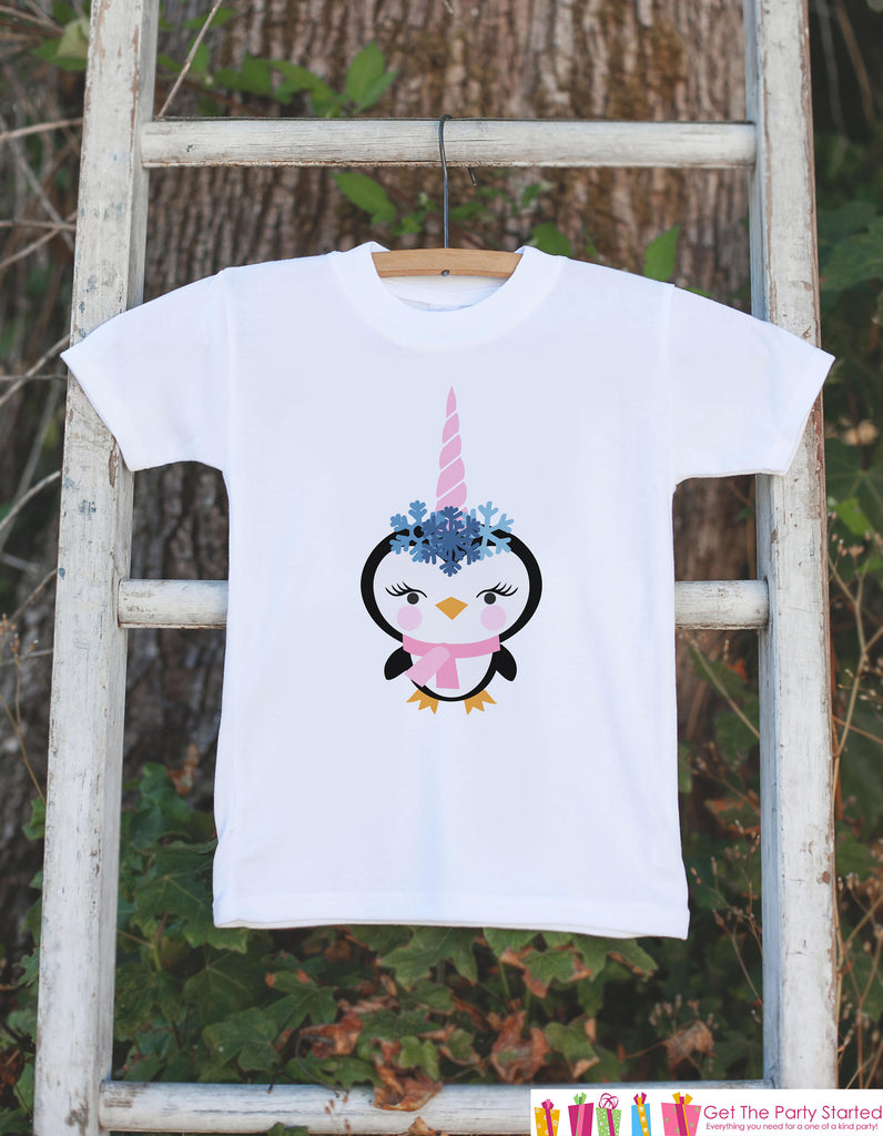 Kids Unicorn Shirts - Funny Penguin Unicorn - Girl's Unicorn Christmas Onepiece or T-shirt - Winter Unicorn - Baby, Infant, Toddler, Youth