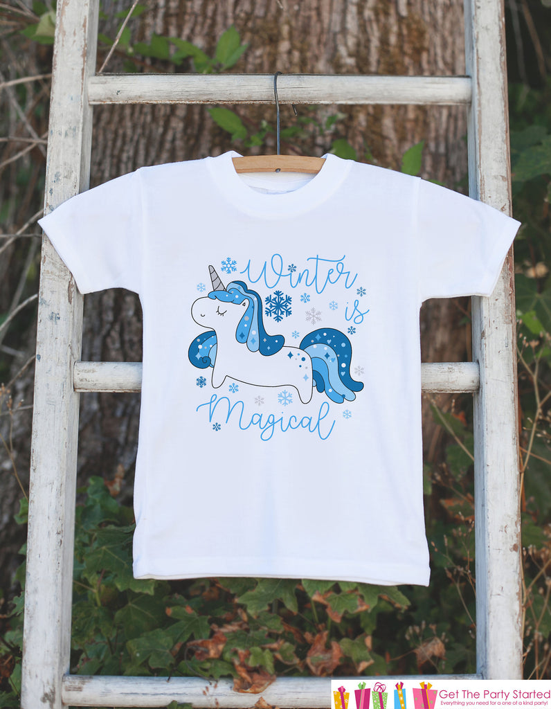 Kids Unicorn Shirts - Winter is Magical Unicorn - Girls Unicorn Winter Onepiece or Tshirt - Winter Unicorn - Infant, Toddler, Youth