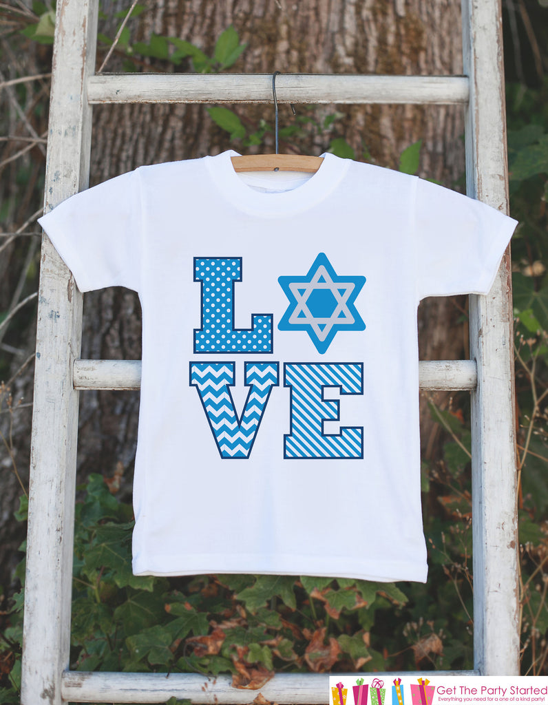 Kids Hanukkah Shirt - Star LOVE Outfit for Girls or Boys - Hanukkah Onepiece or T-shirt - Hanukkah Gift - Baby, Toddler Jewish Shirts