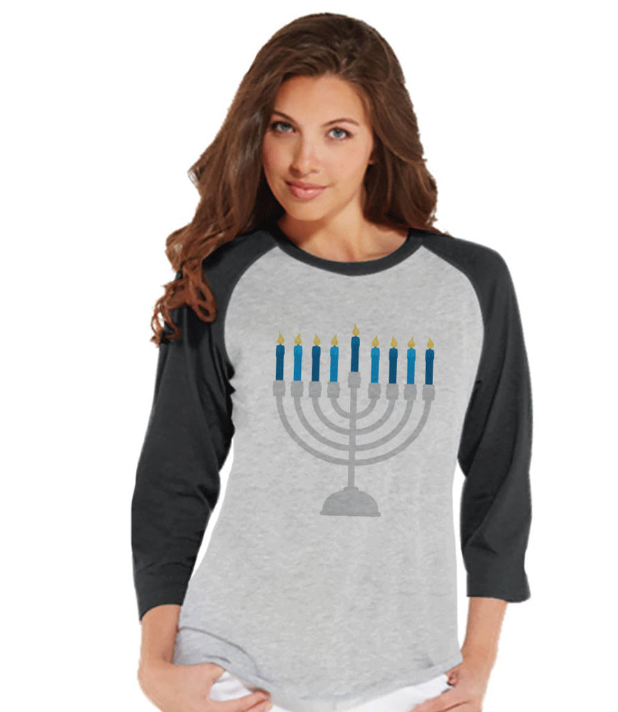 Hanukkah Shirt - Menorah Shirt - Ladies Hanukkah Menorah Baseball Tee - Happy Hanukkah Outfit - Hanukkah Gift Idea - Family Holiday Shirts