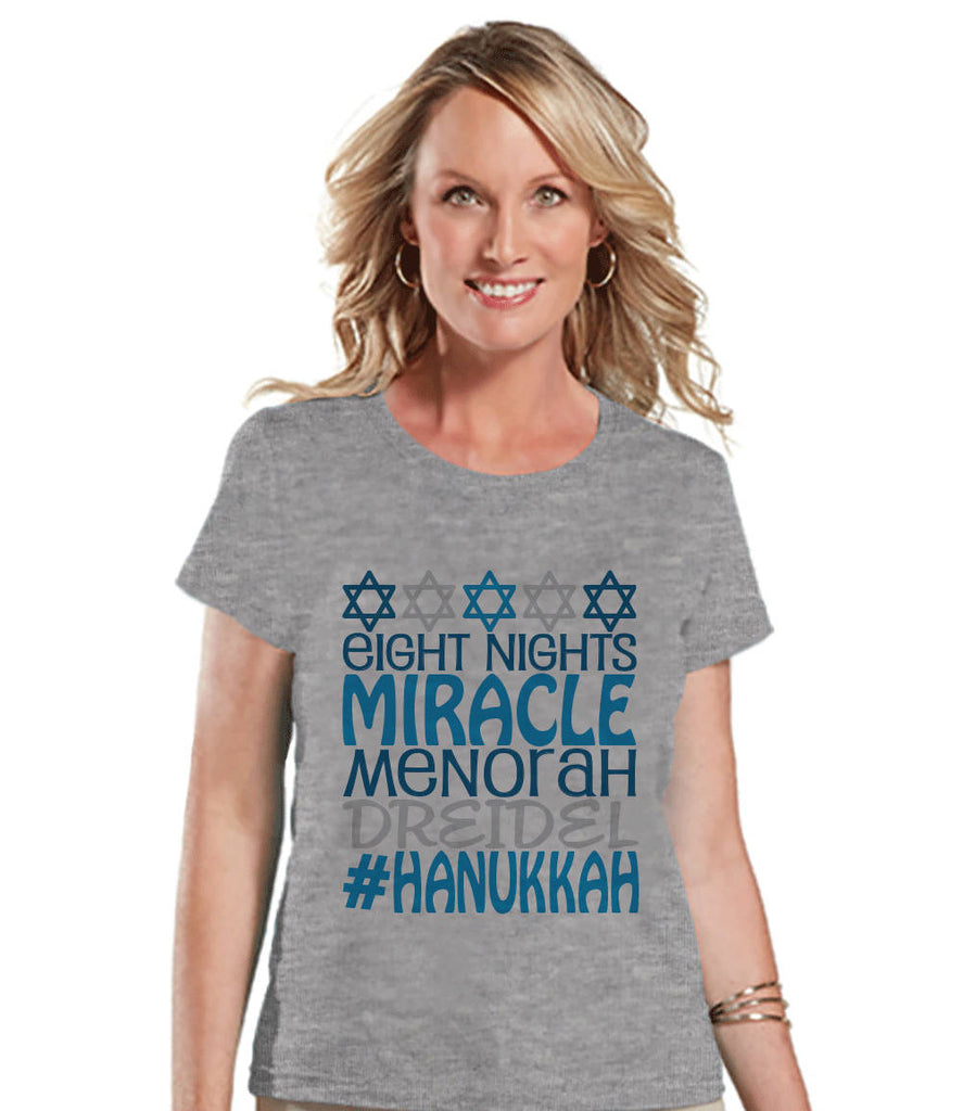 Women's Hanukkah Shirt - #Hanukkah Grey T-shirt - Ladies Happy Hanukkah Outfit - Hanukkah Gift Idea - Family Holiday Shirts - Jewish Shirts