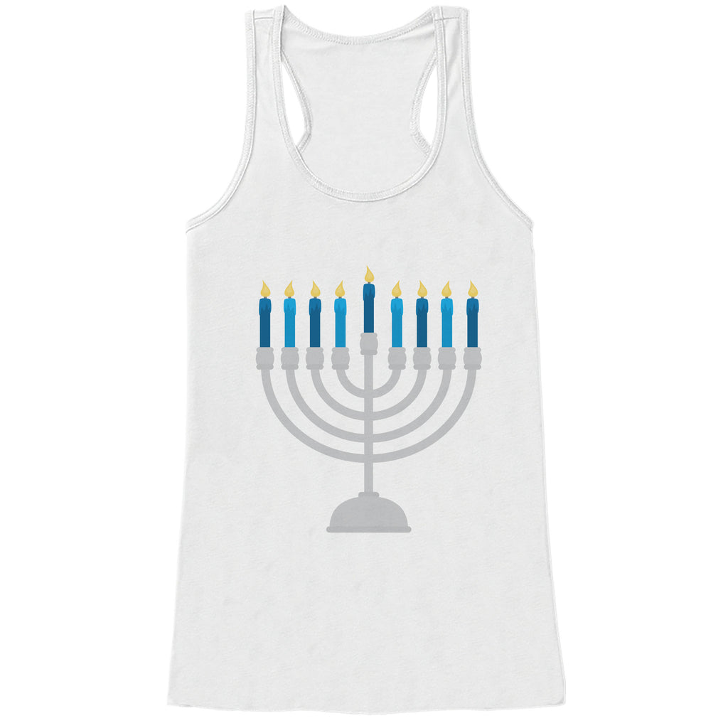 Hanukkah Shirt - Menorah Shirt - Ladies Hanukkah Menorah White Tank Top - Happy Hanukkah Outfit - Hanukkah Gift Idea - Family Holiday Shirts