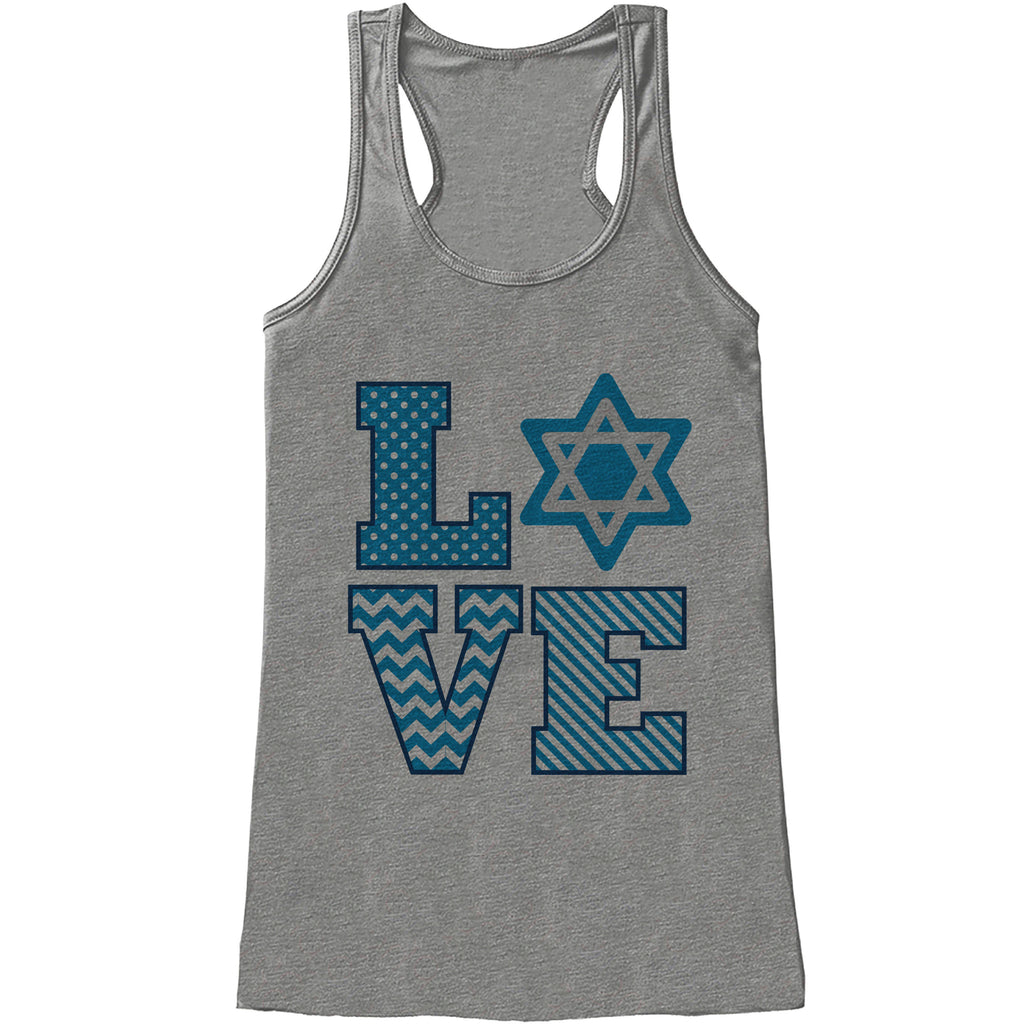 Women's Hanukkah Shirt - LOVE Hanukkah Grey Tank Top - Ladies Happy Hanukkah Outfit - Hanukkah Gift Idea - Family Holiday Shirts