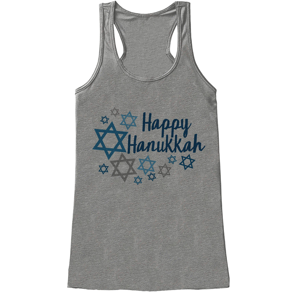 Happy Hanukkah Shirt - Ladies Hanukkah Grey Tank Top - Happy Hanukkah Outfit - Hanukkah Gift Idea - Family Holiday Shirts