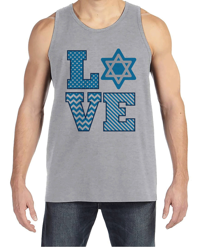 Men's Hanukkah Shirt - LOVE Hanukkah Grey Tank Top - Mens Happy Hanukkah Outfit - Hanukkah Gift Idea - Family Holiday Shirts
