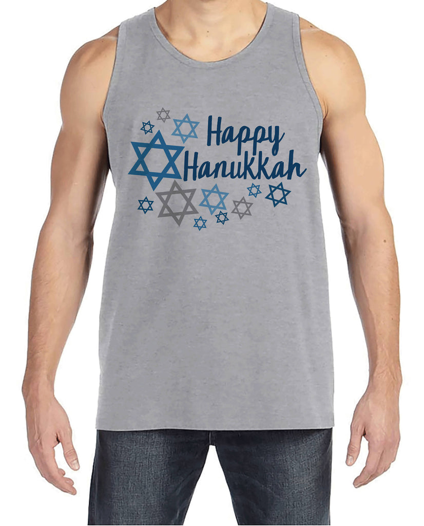 Happy Hanukkah Shirt - Men's Hanukkah Grey Tank Top - Mens Happy Hanukkah Outfit - Hanukkah Gift Idea - Family Holiday Shirts