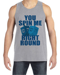 Funny Hanukkah Shirt - You Spin Me Dreidel Shirt - Men's Hanukkah Grey Tank Top - Mens Happy Hanukkah Outfit - Hanukkah Gift - Family Shirts
