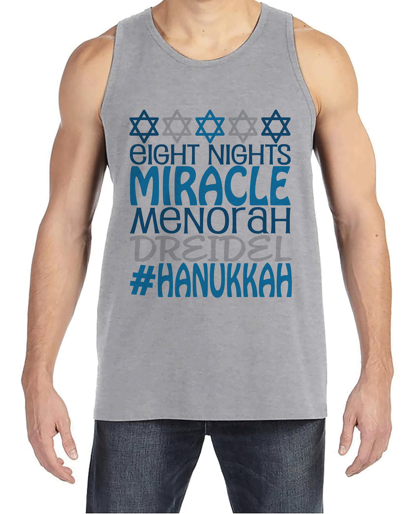 Men's Hanukkah Shirt - #Hanukkah Grey Tank Top - Mens Happy Hanukkah Outfit - Hanukkah Gift - Family Holiday Shirts - Jewish Shirts