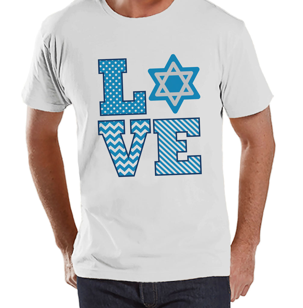 Men's Hanukkah Shirt - LOVE Hanukkah White T-shirt - Mens Happy Hanukkah Outfit - Hanukkah Gift Idea - Family Holiday Shirts
