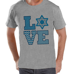 Men's Hanukkah Shirt - LOVE Hanukkah Grey T-shirt - Mens Happy Hanukkah Outfit - Hanukkah Gift Idea - Family Holiday Shirts