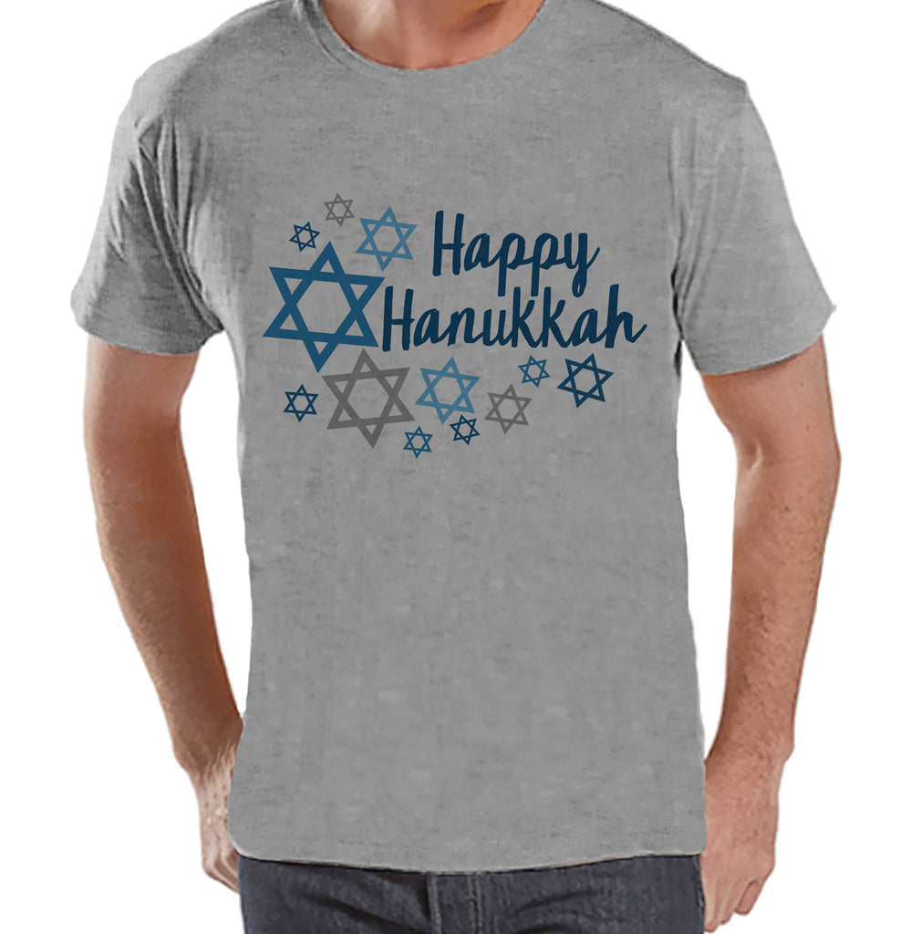 Happy Hanukkah Shirt - Men's Hanukkah Grey T-shirt - Mens Happy Hanukkah Outfit - Hanukkah Gift Idea - Family Holiday Shirts