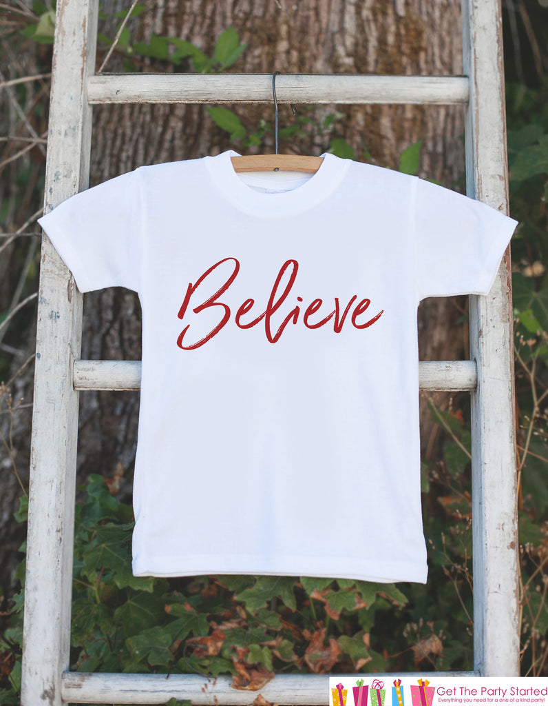Kids Christmas Shirts - Believe - Boy or Girl Christmas Onepiece or Shirt - Religious Shirt - Kids Christmas Pajamas - Sibling Shirts