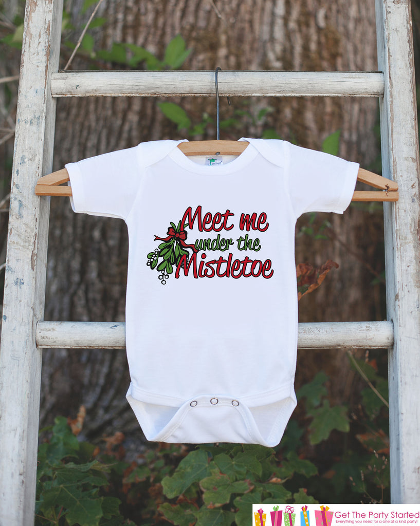 Kids Christmas Shirts - Meet Me Under The Mistletoe - Girl or Boys Funny Christmas Onepiece or Shirt - Christmas Pajamas - Sibling Shirts