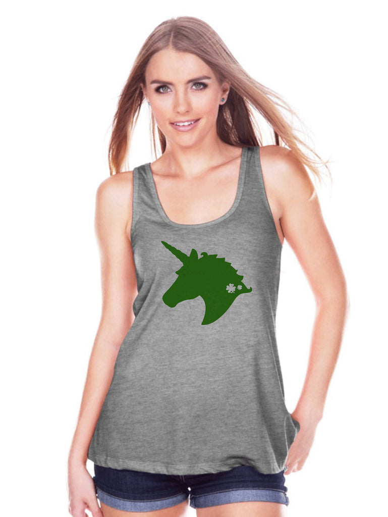 Women's Unicorn Tank Top - St Patrick's Day Irish Unicorn Shirt - Womens Grey Tank Top - Green Unicorn Head - Lucky Unicorn - Gift for Her