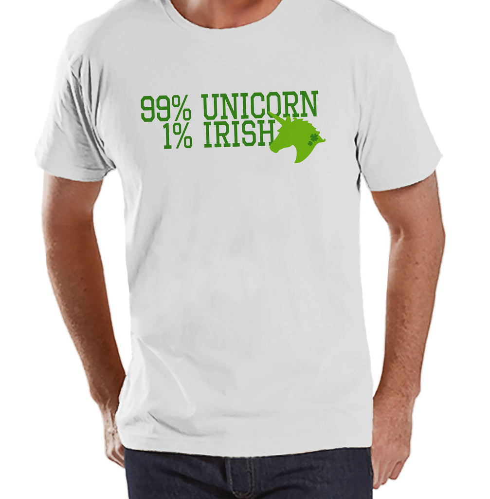 Men's Unicorn Shirt - 99% Unicorn - Mens Funny Unicorn Shirts - Irish Unicorn - White Tshirt - Gift for Him - St Patrick's Day Unicorn Shirt