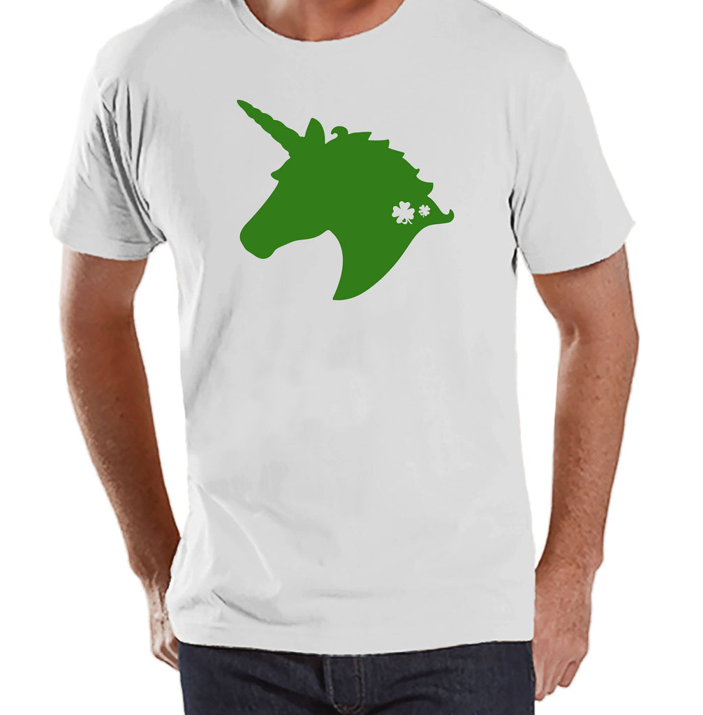 Men's Unicorn Shirt - Green Unicorn Head - Mens Funny Unicorn Shirts - Irish Unicorn - White Shirt - Gift for Him - St Patrick Unicorn Shirt