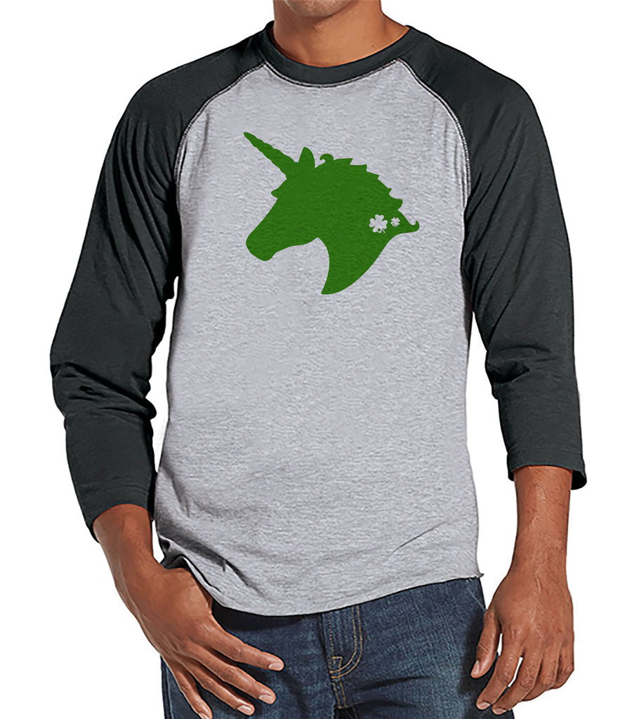 Men's Unicorn Shirt - Green Unicorn Head - Mens Funny Unicorn Shirts - Irish Unicorn - Grey Raglan - Gift for Him - St Patrick Unicorn Shirt