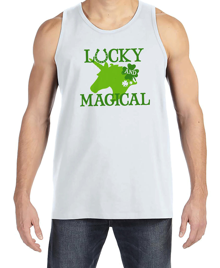 Men's Unicorn Shirt - Lucky & Magical - Mens Funny Unicorn Shirts - Irish Unicorn - White Tank Top - Gift for Him - St Patricks Day Unicorn