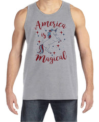 Men's Unicorn Shirt - America is Magical - Mens Funny Unicorn Tank - Patriotic Unicorn - Grey Tank Top - Gift for Him - Adult Unicorn Shirt