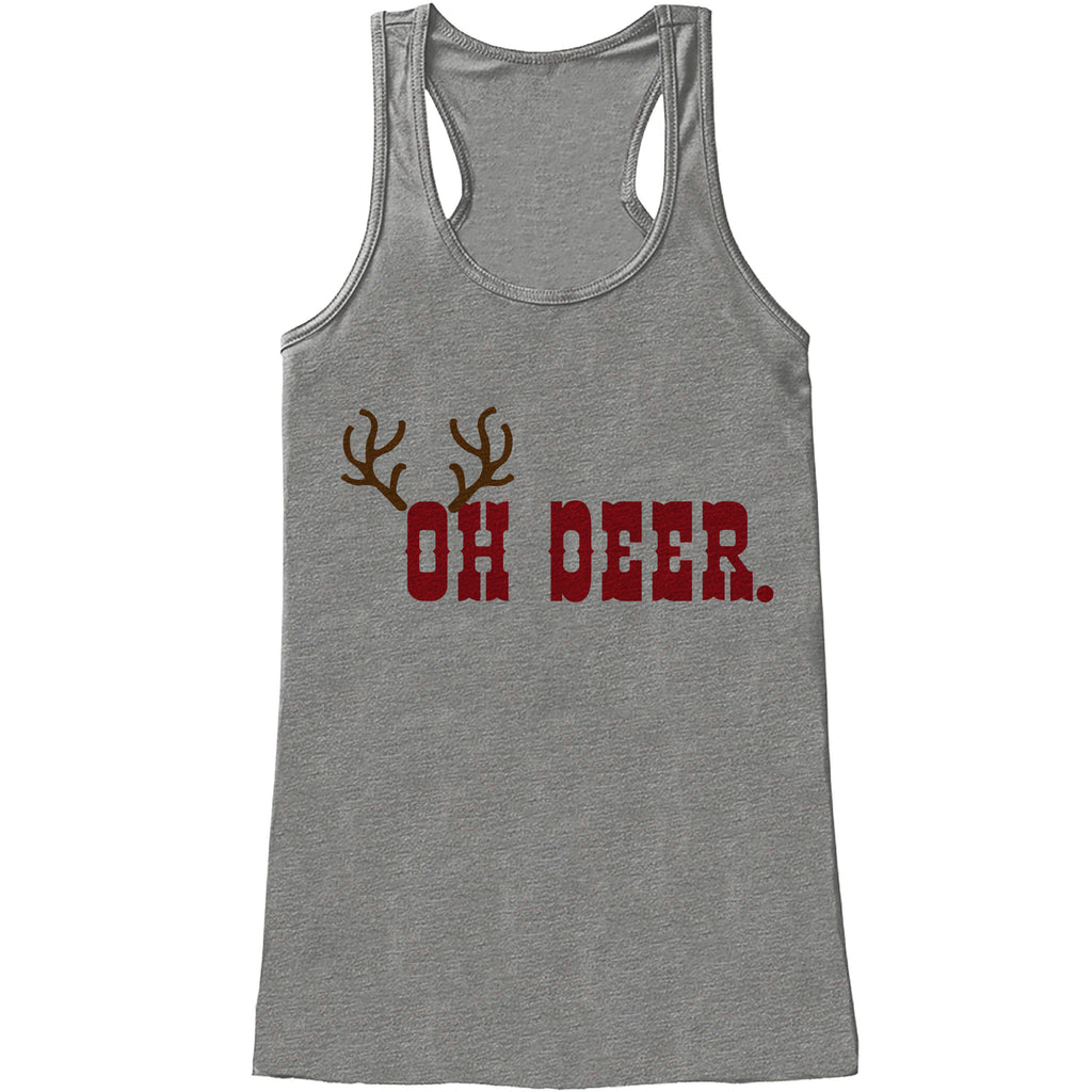 Womens Christmas Shirt - Funny Oh Deer Shirt - Humorous Christmas Present Idea - Family Christmas Pajamas - Grey Tank - Christmas Gift Idea