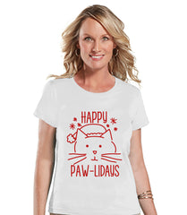Women's Christmas Shirt - Cat Holiday Shirt - Christmas Present Idea for Her - Family Christmas Pajamas - White Tshirt - Christmas Gift Idea