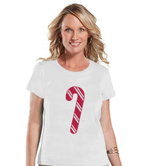 Women's Christmas Shirt - Candy Cane Shirt - Mom Christmas Present Idea - Family Christmas Pajamas - White T-shirt - Christmas Gift Idea