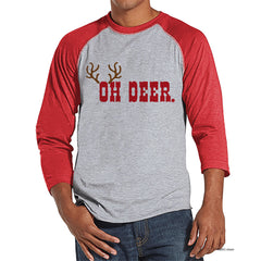 Men's Christmas Shirt - Oh Deer Shirt - Funny Christmas Present Idea for Him - Family Christmas Pajamas - Red Raglan Tee - Christmas Gift