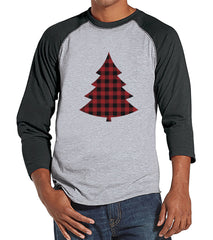 Men's Christmas Shirt - Plaid Tree Shirt - Christmas Present Idea for Him - Family Christmas Pajamas - Grey Raglan Tee - Christmas Gift Idea