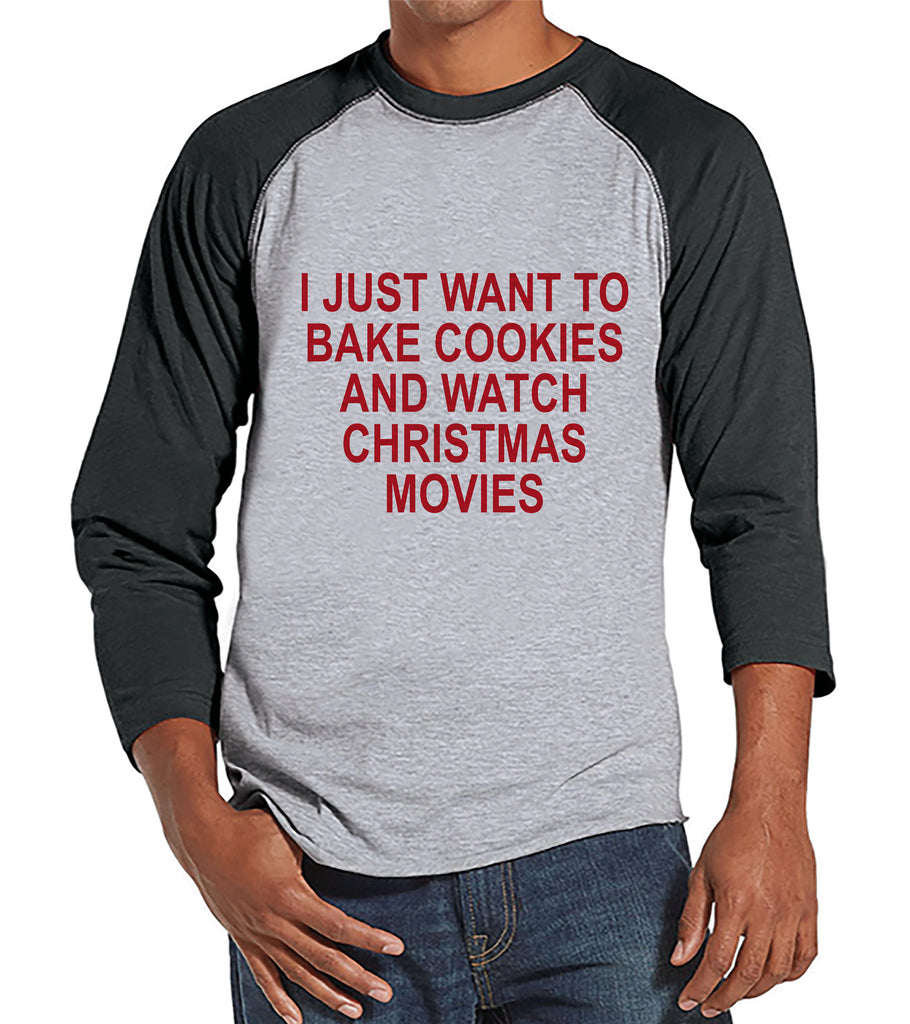 Men's Christmas Shirt - Christmas Cookies Shirt - Funny Gift for Him - Family Christmas Pajamas - Grey Raglan Tee - Christmas Gift Idea