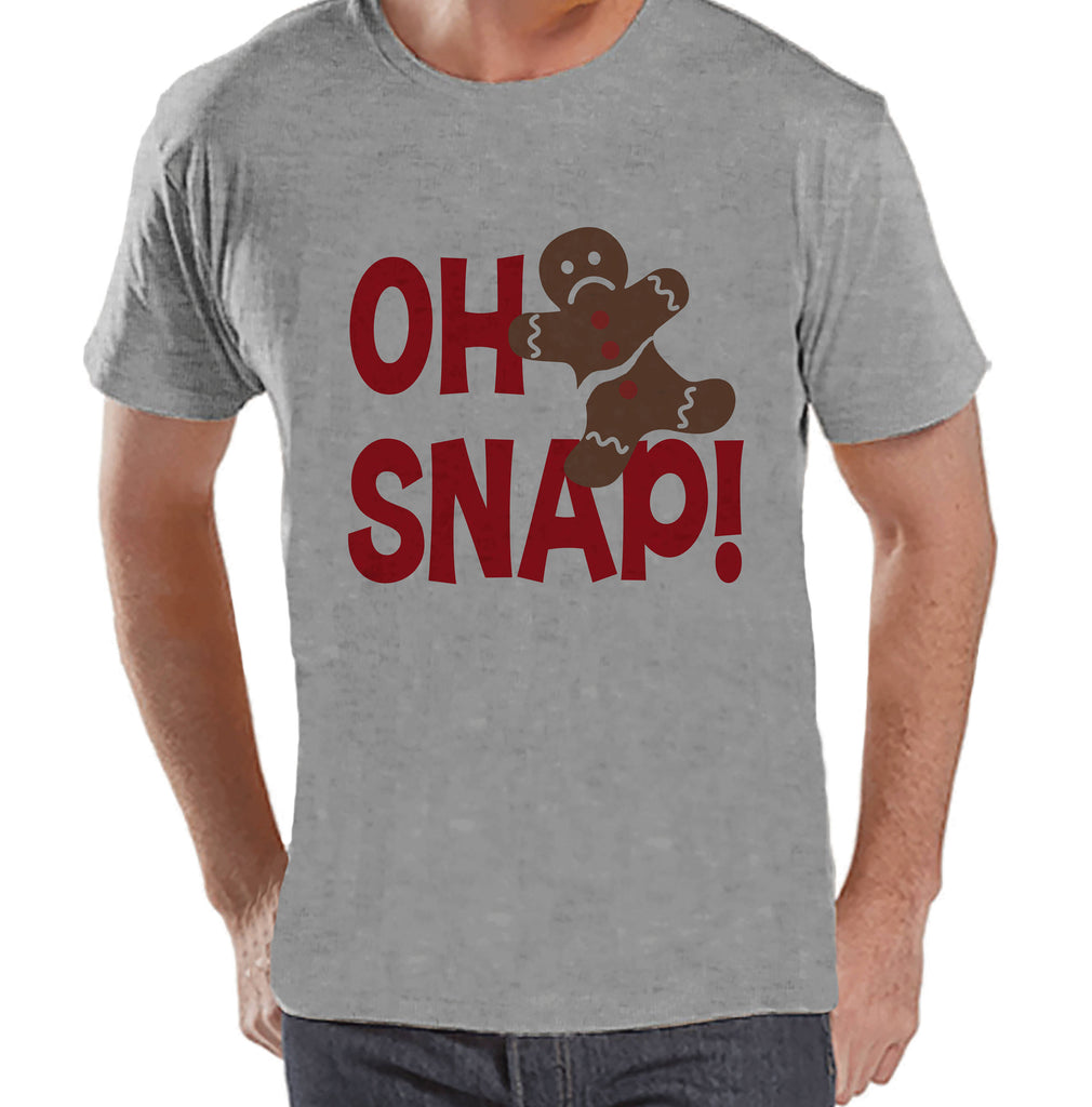 Men's Christmas Shirt - Oh Snap Shirt - Funny Gingerbread Man Gift for Him - Family Christmas Pajamas - Grey T-shirt - Christmas Gift
