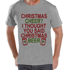Men's Christmas Shirt - Christmas Beer Shirt - Funny Christmas Present Idea for Him - Humorous Drinking Shirt - Grey Tshirt - Christmas Gift